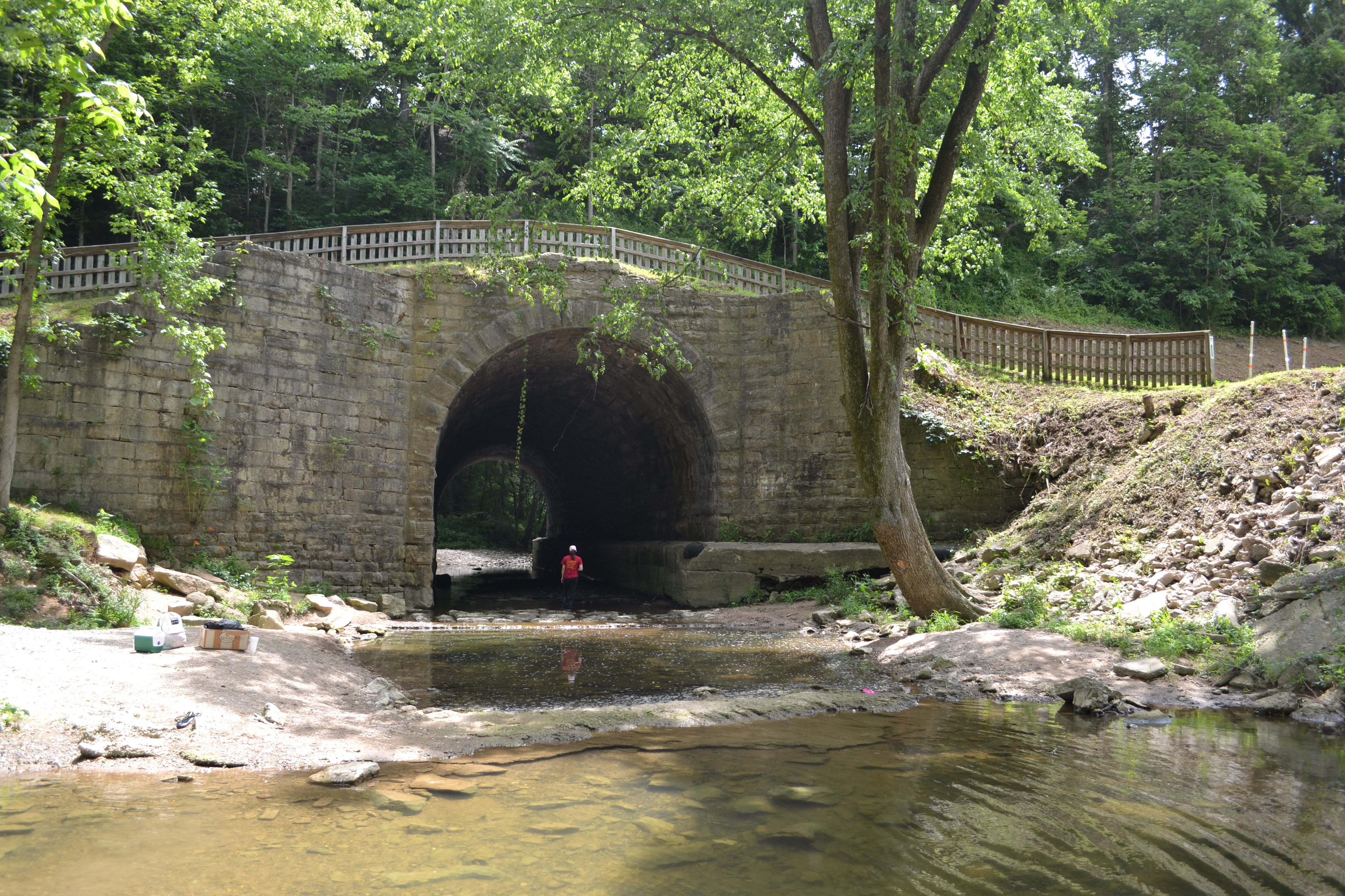 The stone arch culvert over Crooked Creek as it appears today.   The railroad built this culvert in 1863 after the original culvert washed away in 1844.