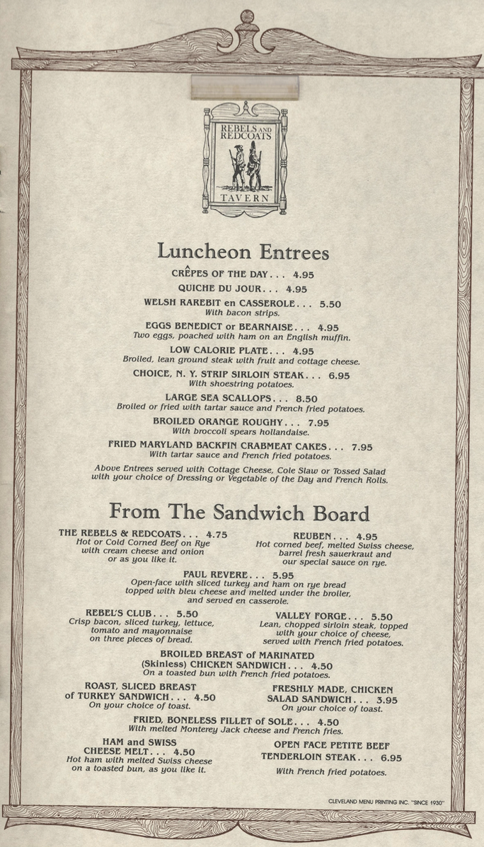 Page from a Rebels and Redcoats menu