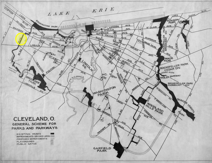Cleveland Parks and Boulevards Plan 1890-1910. The West Boulevard Allotment is highlighted. West Boulevard as a whole is much longer than this one subdivision. In the north, it stretches to Edgewater Park, and it was supposed to stretch to Brookside Park in the south. The southern connection was stalled because an industrial complex was in the path of the boulevard.
