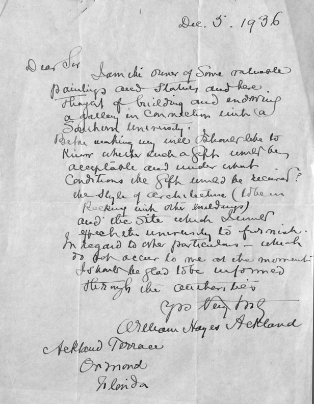 The museum is named after Hayes Ackland (1855-1940), who decided to bequest funds to Duke University to build an art museum. However, in 1941, Duke refused the money owing to Ackland's request to be buried within the museum.