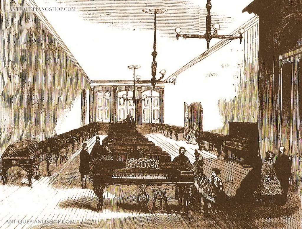 Steinway and Sons showrooms in New York City during the 1860s (http://antiquepianoshop.com/)