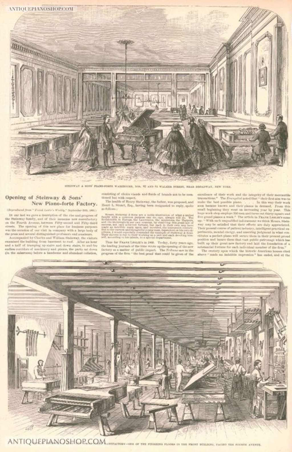 Newspaper advertisement for the opening of the new factory  (http://antiquepianoshop.com/)