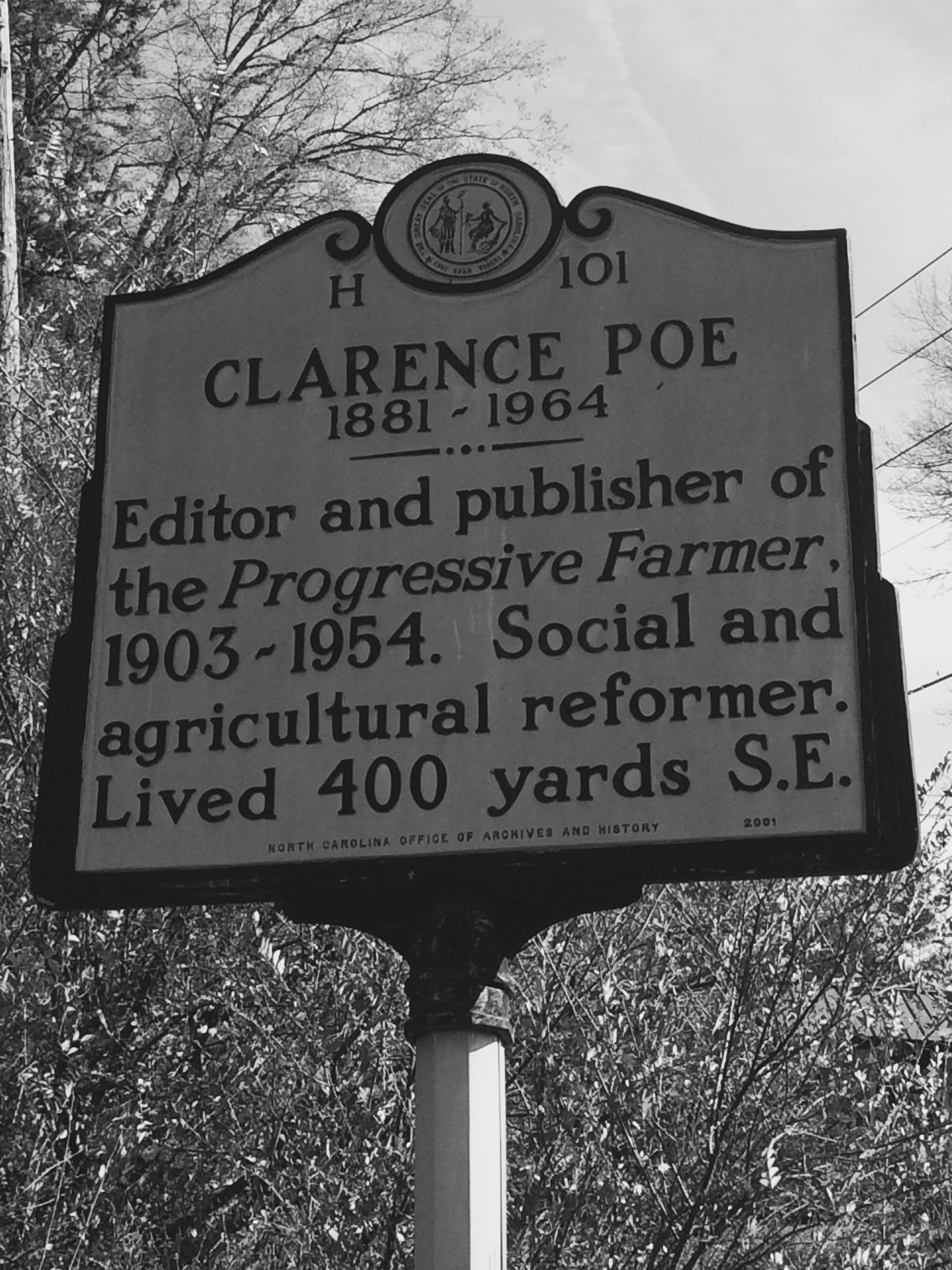 Historical marker near the Poe House, located off of New Bern Ave/Donald Ross Dr.