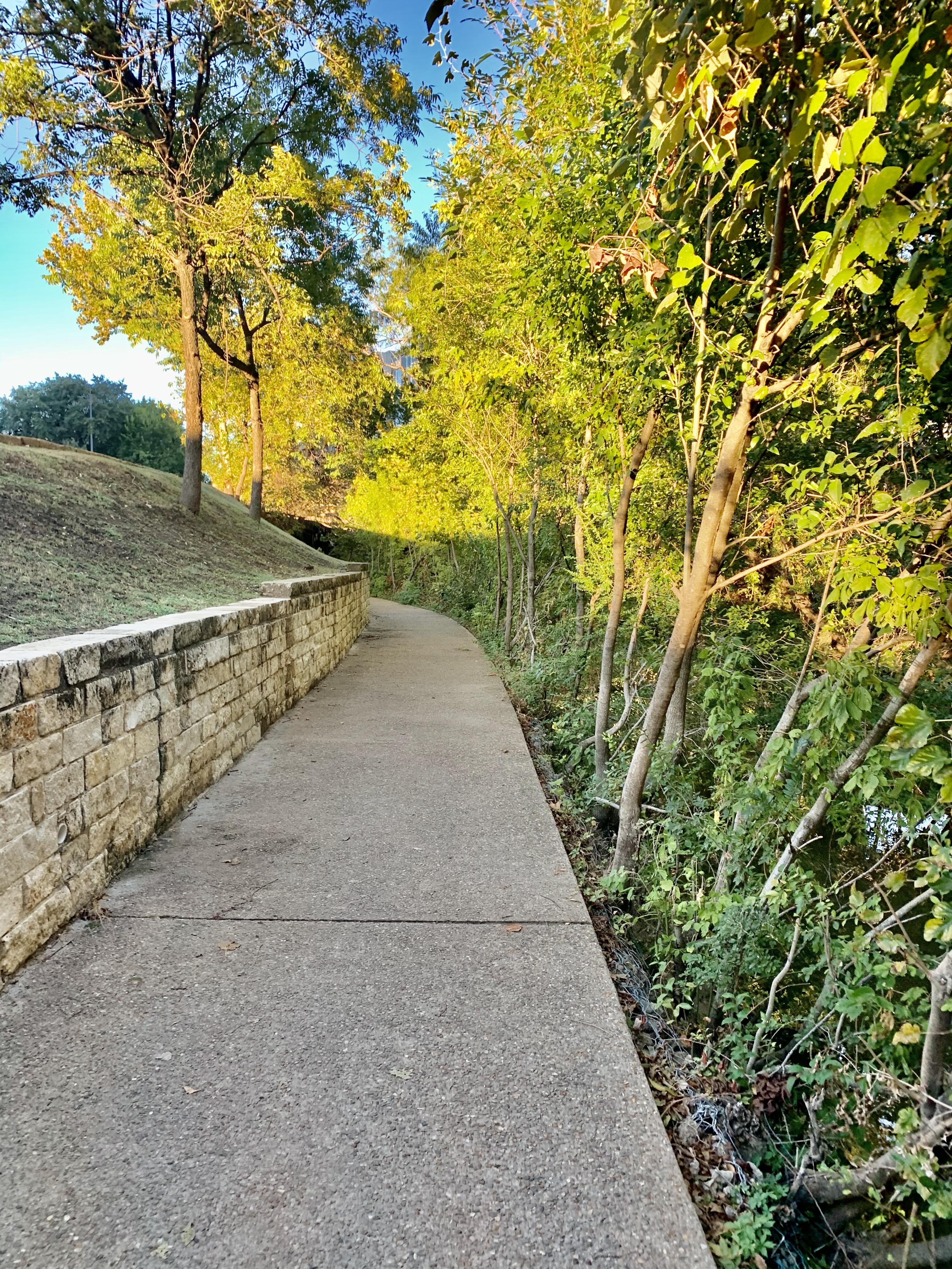 The trail isolated running alongside Shoal Creek. (September 2019)