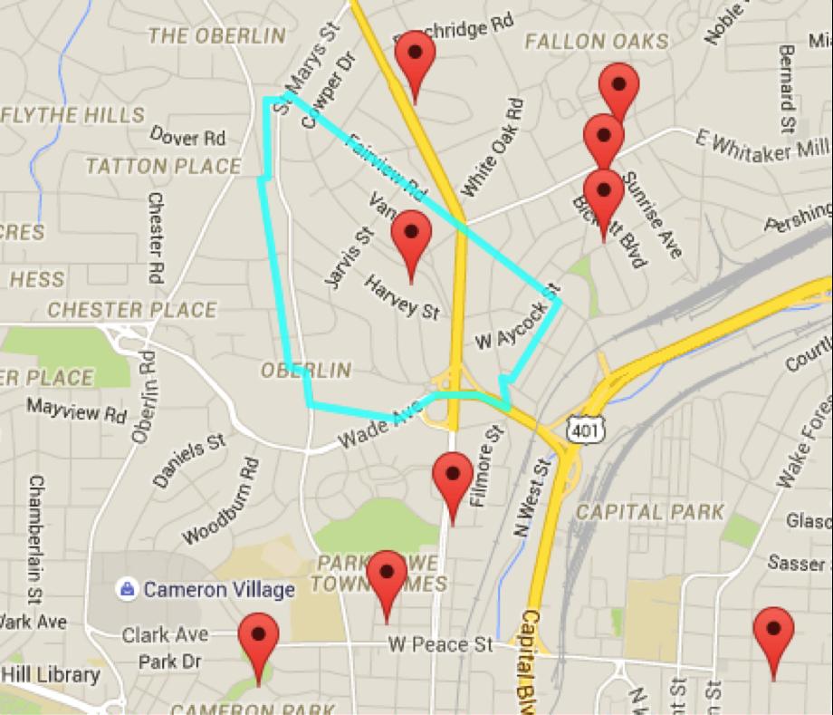 A map of Hayes Barton's boundaries