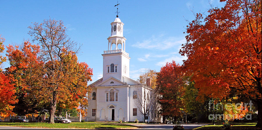 Bennington's Old First Church, looking resplendent surrounded by fall foliage.