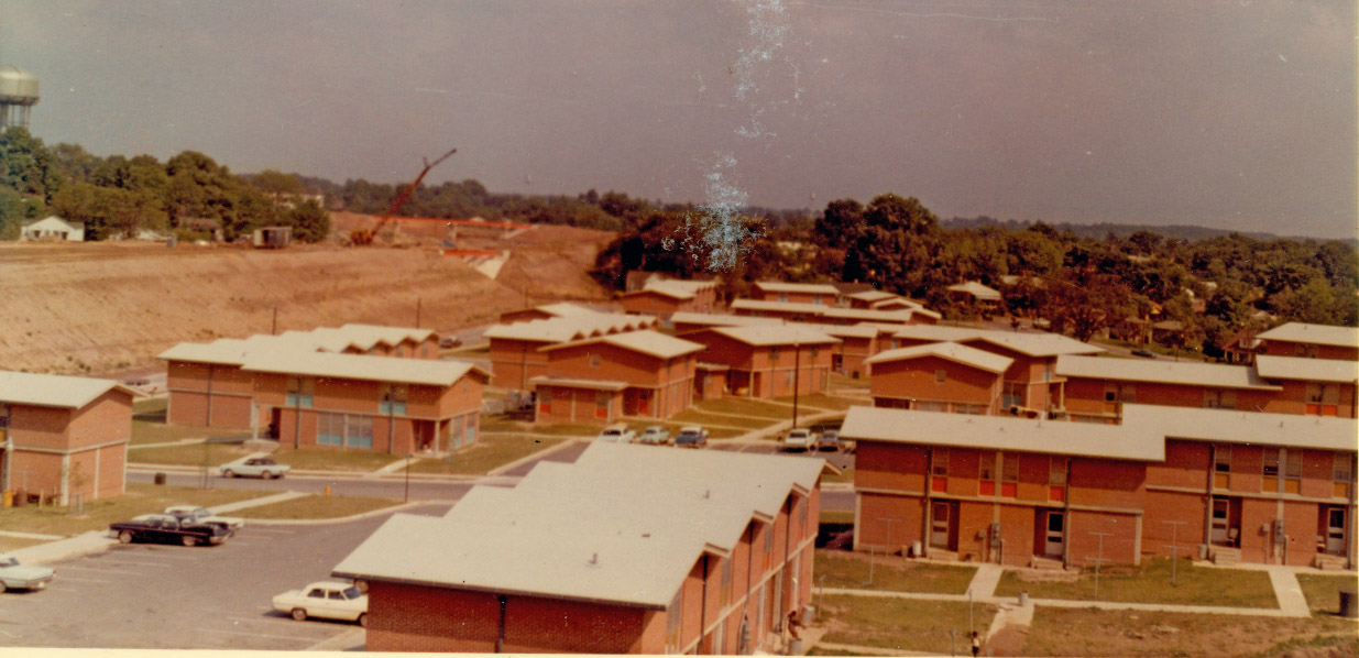 Fayette Place, a public housing project developed in the Hayti neighborhood in 1967. This area was demolished in 2009. Photo housed at Durham County Library.