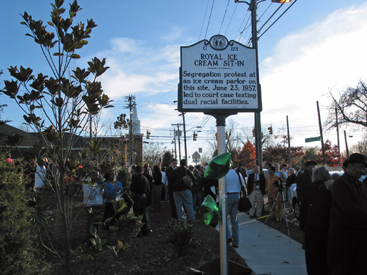 Dedication ceremony for the unveiling of the Royal Ice Cream Sit-In, November 29th, 2009.