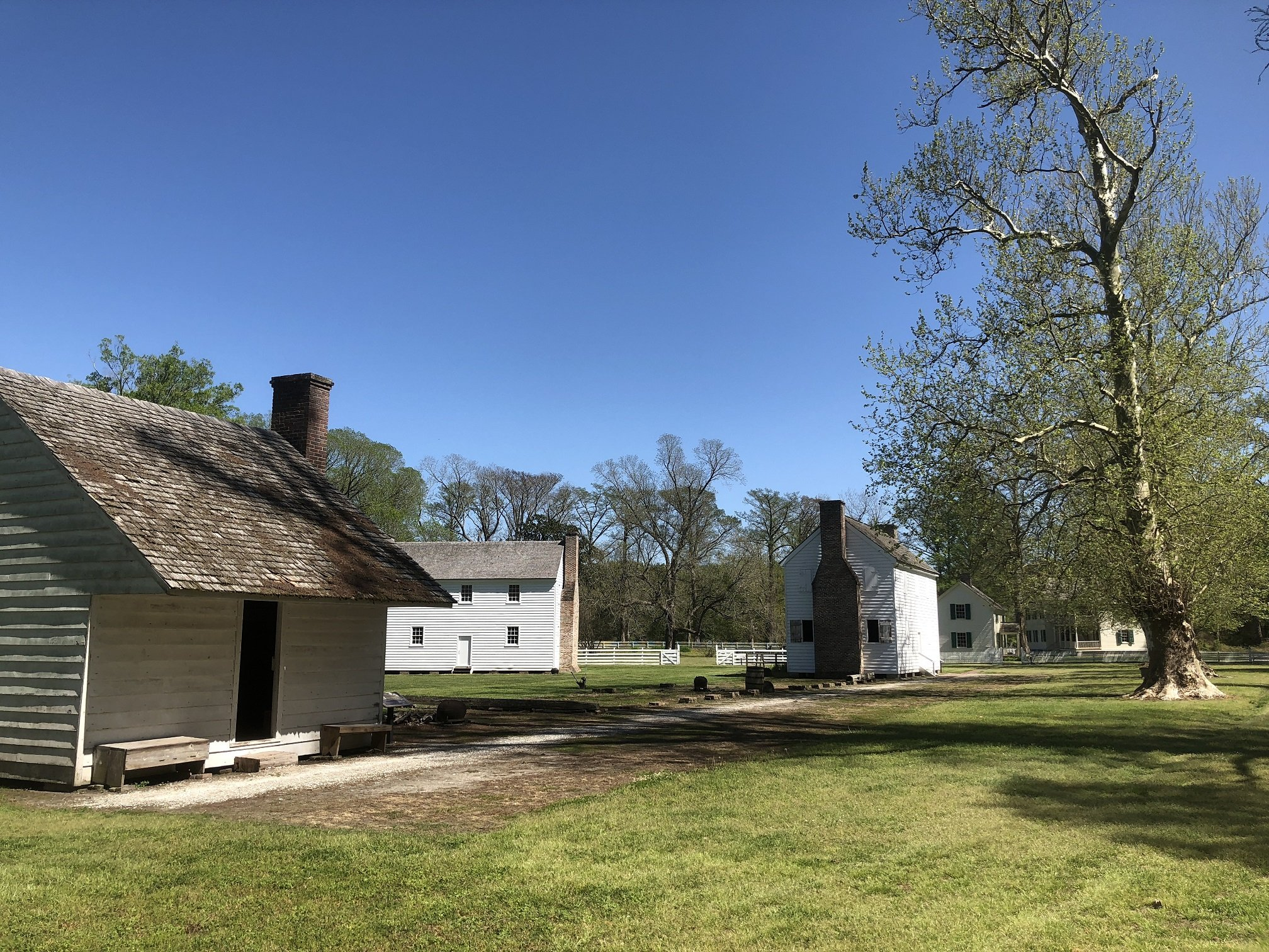 The Enslaved Community (from left to right: Judy and Lewis' House, Hospital, and Suckey Davis' House)