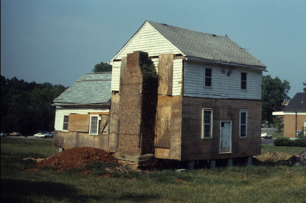 Dickson house after its move to current location in 1982, and before its full-scale restoration. Courtesy of openorangenc.org and North Carolina State University.