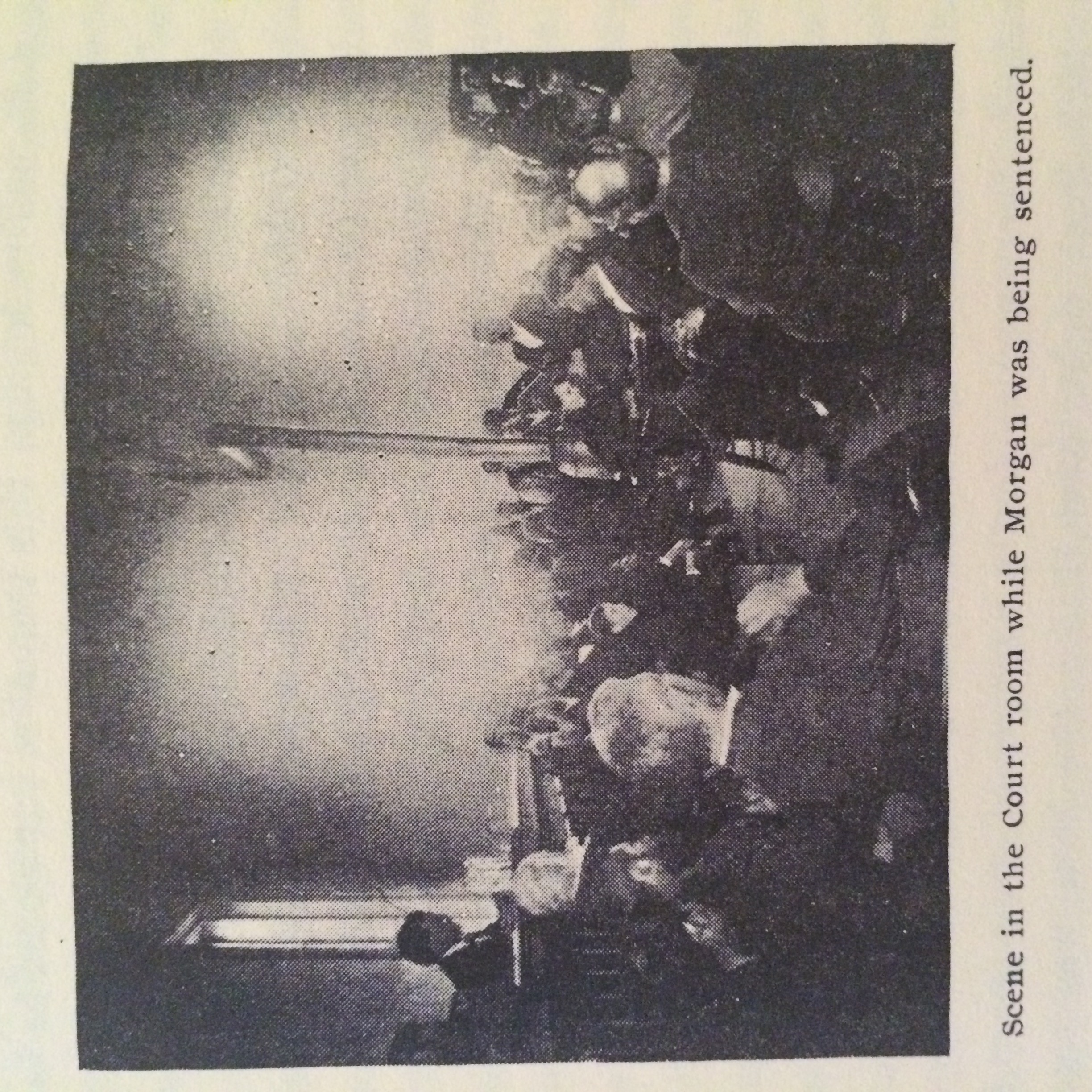"Photo of Morgan's trial taken from Morrison's ""The Slaughter of the Pfost-Greene Familey"" pamphlet (reprint)."