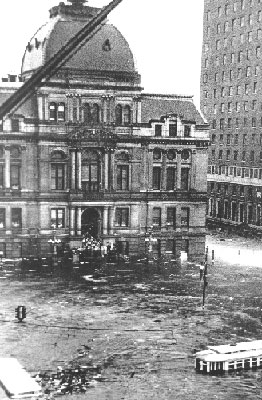 Providence suffered a major hurricane in 1938 that resulted in the flooding of the downtown area. The waterline is appears halfway up the first story in this old photo.