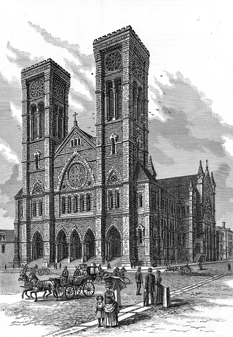 The nearly-complete cathedral at the time of Bishop Hendricken's death in 1886.