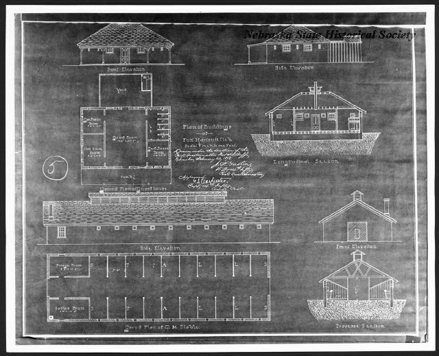 A blueprint of the Fort Hartsuff Guardhouse & Quartermaster Stable