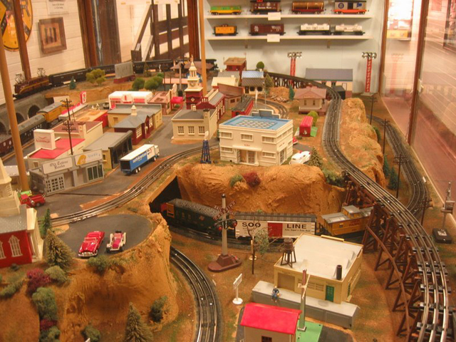 Miniature village and model train set.