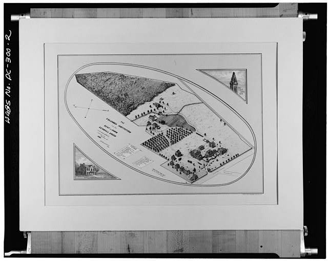 Original drawing from 1885 showing an isometric view of the college campus