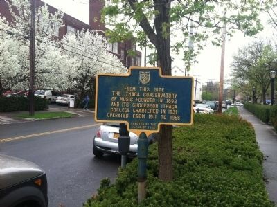 Historical marker for the Ithaca Conservatory of Music
