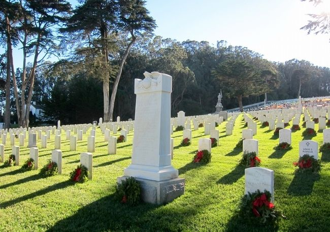 U.S.S. Oregon Marine Corps Memorial marker in San Francisco National Cemetery (image from Historic Markers Database)