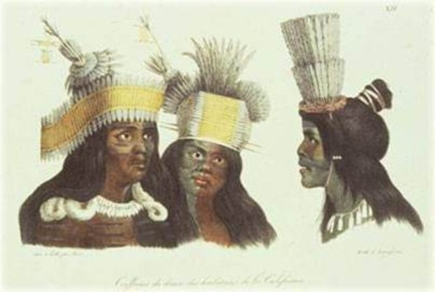 Three Ohlone Indians of Mission Dolores, San Francisco by Russian artist Louis Andreyevich Choris, circa 1822 (image from the Muwekma Ohlone Tribe of the San Francisco Bay Area)