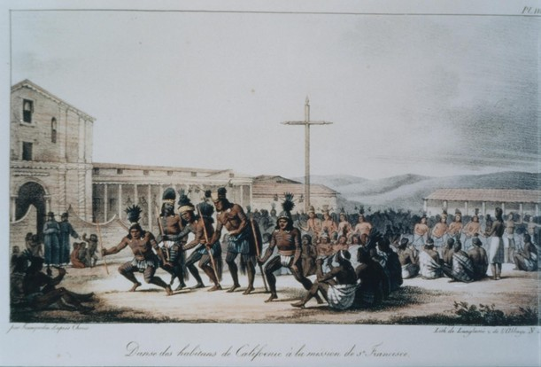 Ohlone Indians Dancing at Mission Dolores, San Francisco, by Russian artist Louis Andreyevich Choris, circa 1822 (image from the Muwekma Ohlone Tribe of the San Francisco Bay Area)