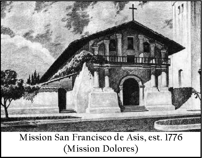Mission Dolores, San Francisco, established 1776 (image from the Muwekma Ohlone Tribe of the San Francisco Bay Area)