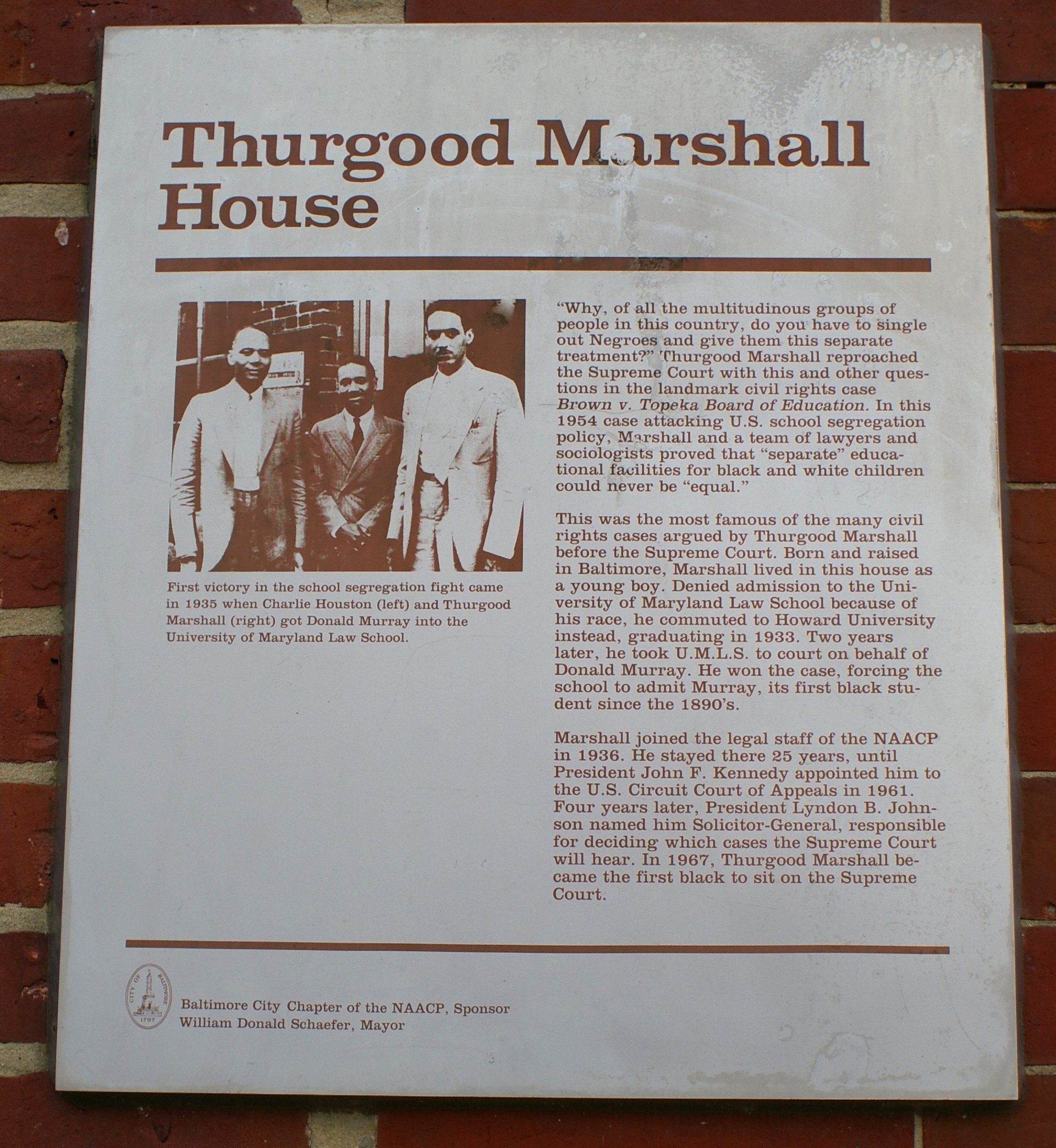Historical Marker in front of Thurgood Marshall's childhood home.