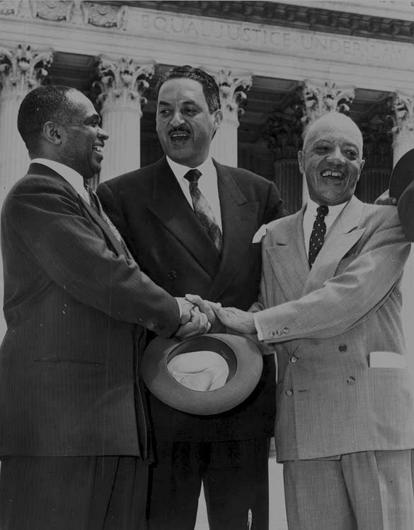 George E.C. Hayes, Thurgood Marshall, and James Nabrit, congratulating each other following Supreme Court decision declaring segregation unconstitutional (1954). Image Courtesy of the Library of Conress.