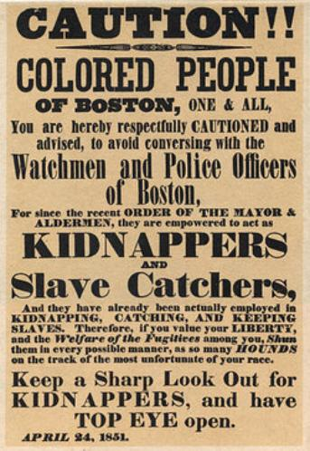 Flyer regarding slave kidnappings, 1851