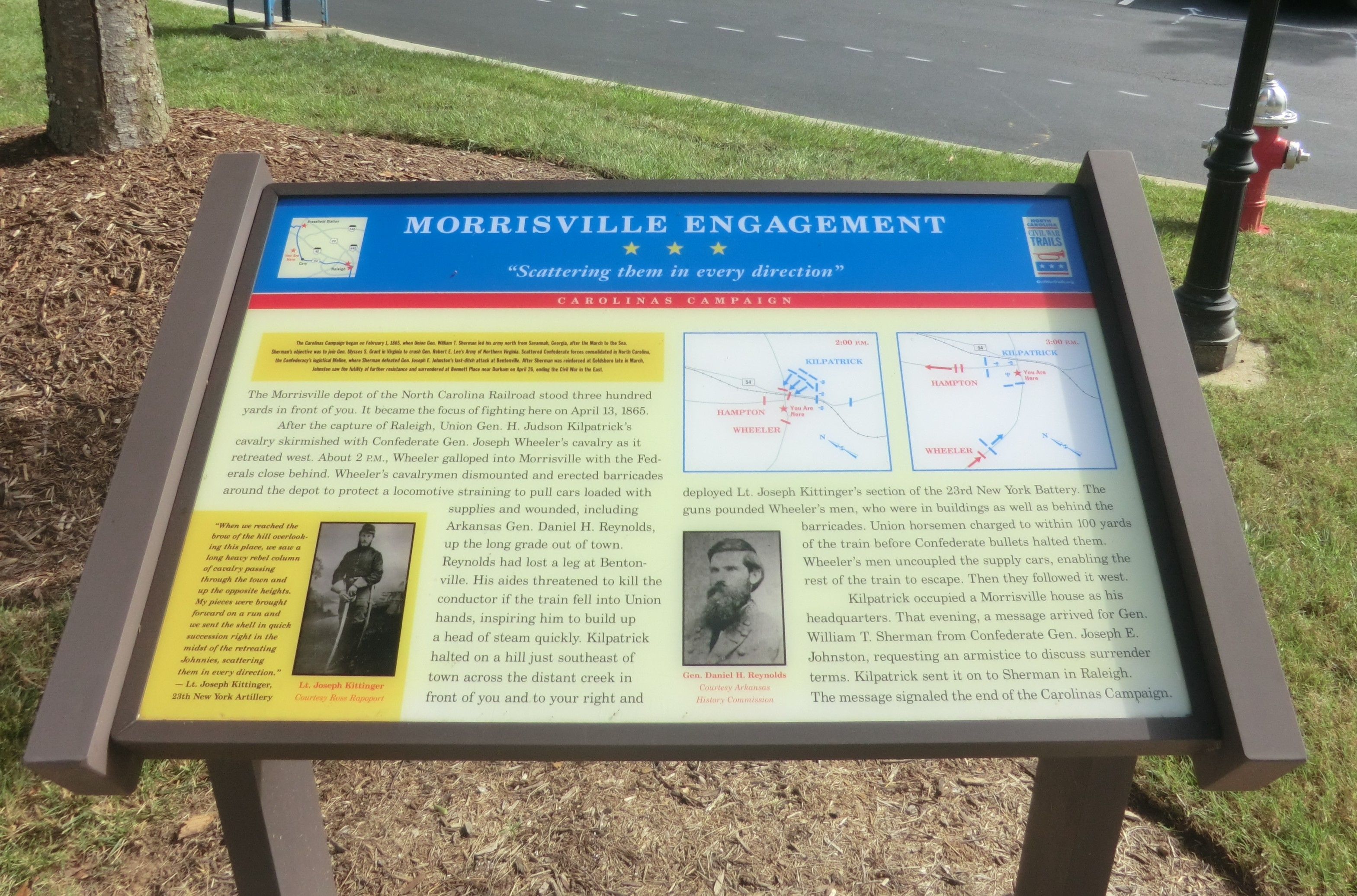 "This historic marker for the ""Morrisville Engagement"" is located next to the museum"