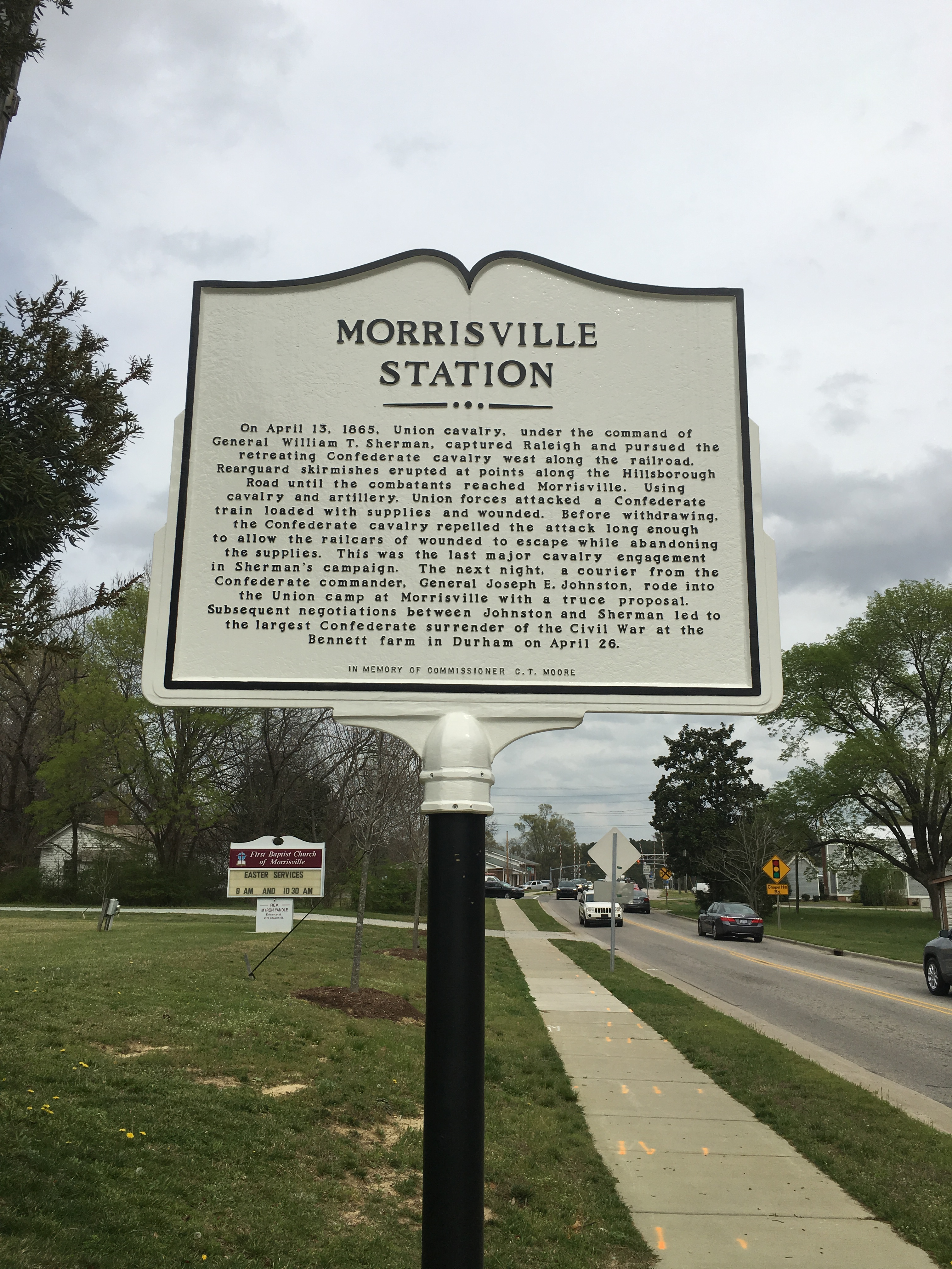 This historic marker is located next to City Hall and tells the history of Union soldiers occupy Morrisville towards the end of the war.