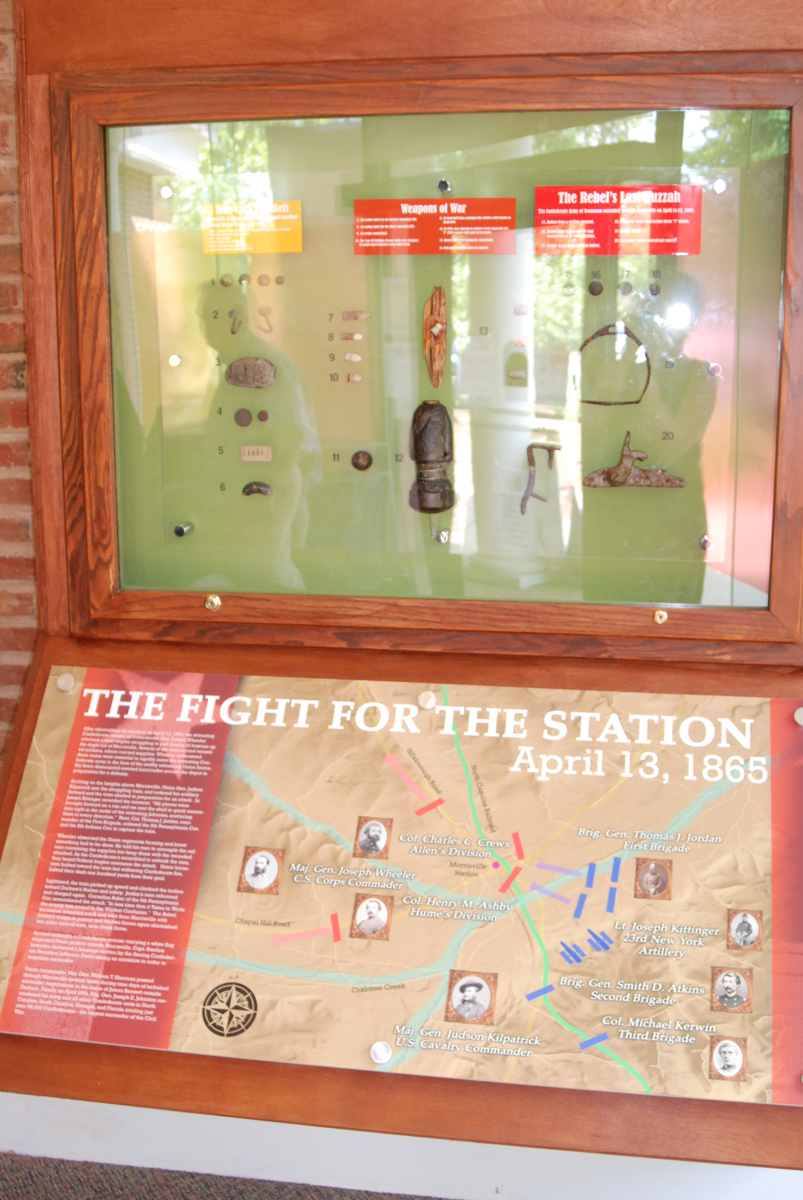 "Artifacts on display and visual representation of the ""The Fight for the Station"" on April 13, 1865."
