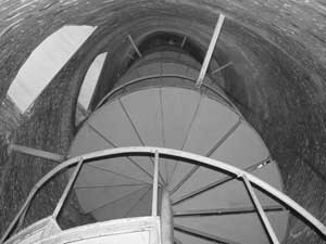 The spiral staircase inside