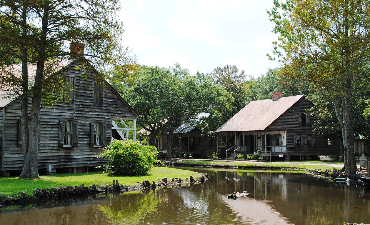 Buildings at the village set along a bayou.