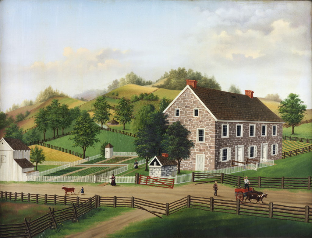 Painting of Tenant House No. I, attributed to Charles C. Hofmann, Berks County, 1870–80