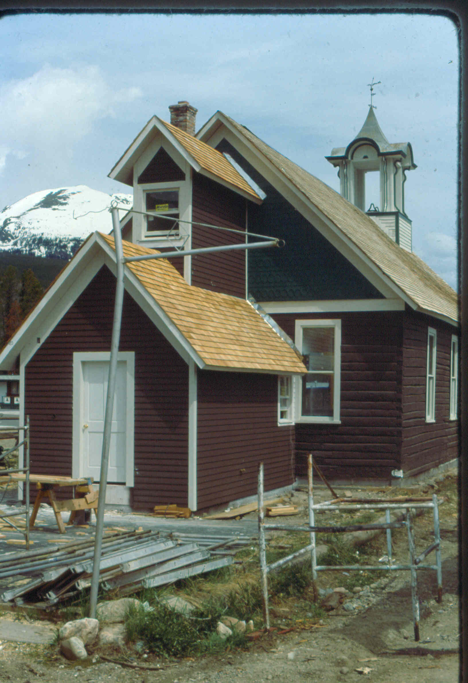 The restoration of the Schoolhouse, cicrca 1983. Note the empty cupola.