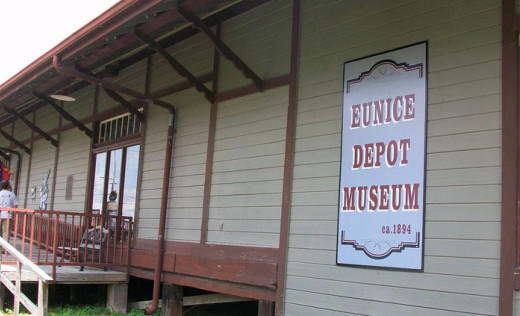 The former train depot that is now home to the Eunice Depot Museum.