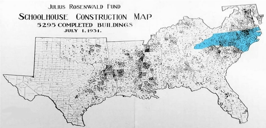 This is a map of the schools all across the southern half of the United States. The shaded areas is locations of Rosenwald School houses. Credit: Russell Brooker, PhD