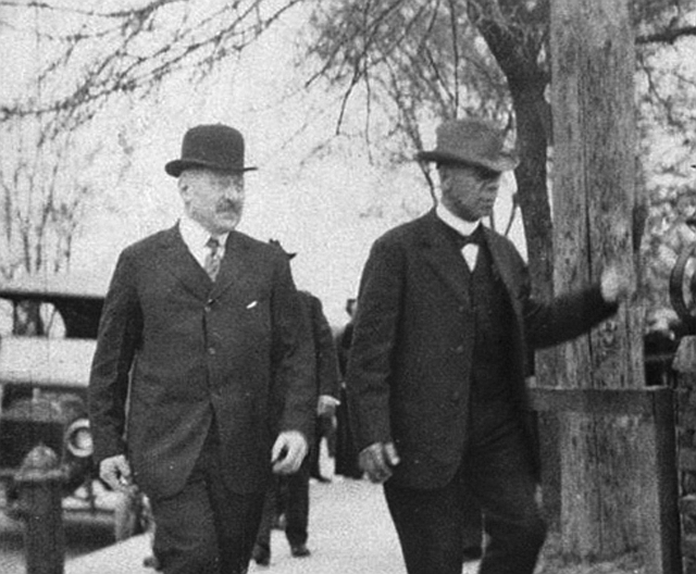 This is a photo of the two who started it all Julius Rosenwald and Booker T. Washington.