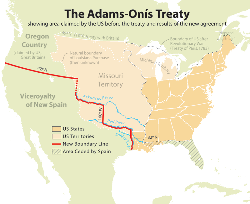In 1819, Spain and the United States signed Adams-Onís Treaty, which defined the border between America and New Spain.