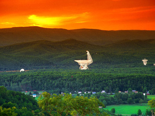 The Robert C. Byrd Green Bank Telescope is nestled in the mountains of West Virginia