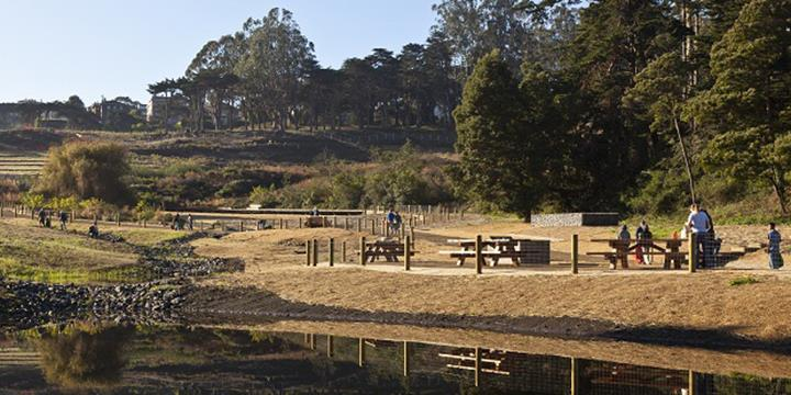 The boardwalk and picnic area around El Polín Spring (image from National Park Service, Presidio)