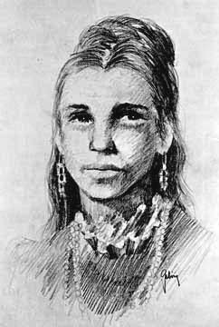 Sketch of Juana Briones by Robert Gebring, 1979 (image from the National Park Service, Presidio)