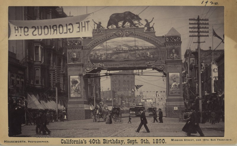 Postcard of the September 9, 1890 celebration of California's 40th birthday in downtown San Francisco (image from the collections of the Society of California Pioneers)