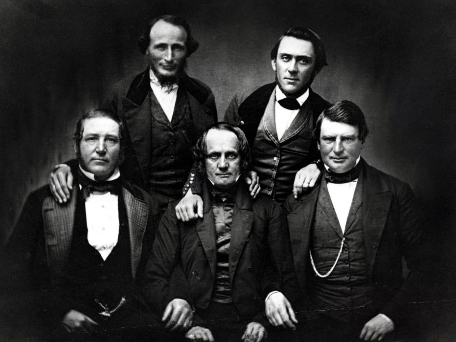 Early Members of the Society: Howard, Brannon, Larkin, Leese and Green (image from the Society of California Pioneers)
