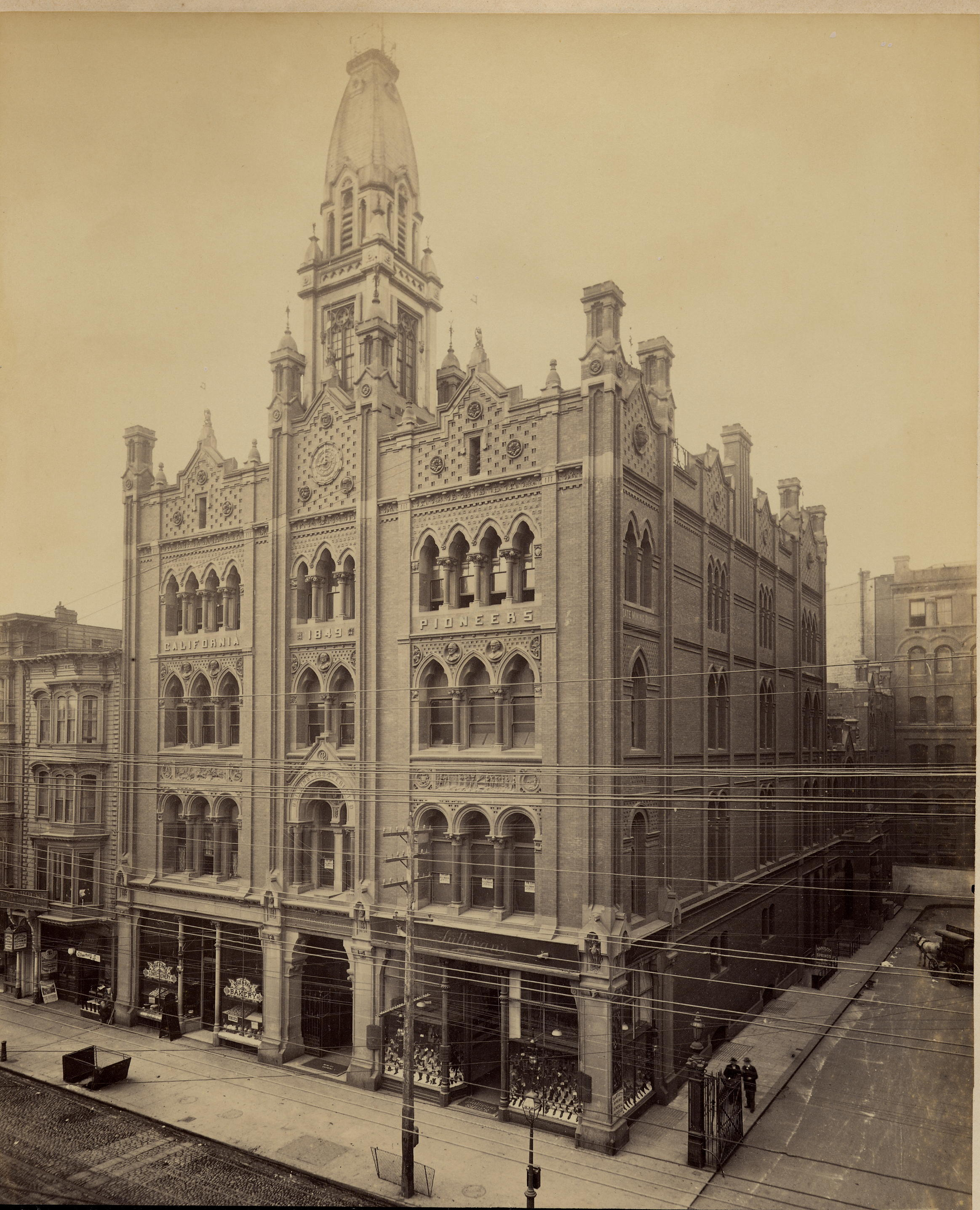 One of several buildings used as the Society's Pioneer Hall over the years, 1886-1906 (image from the Society of California Pioneers)