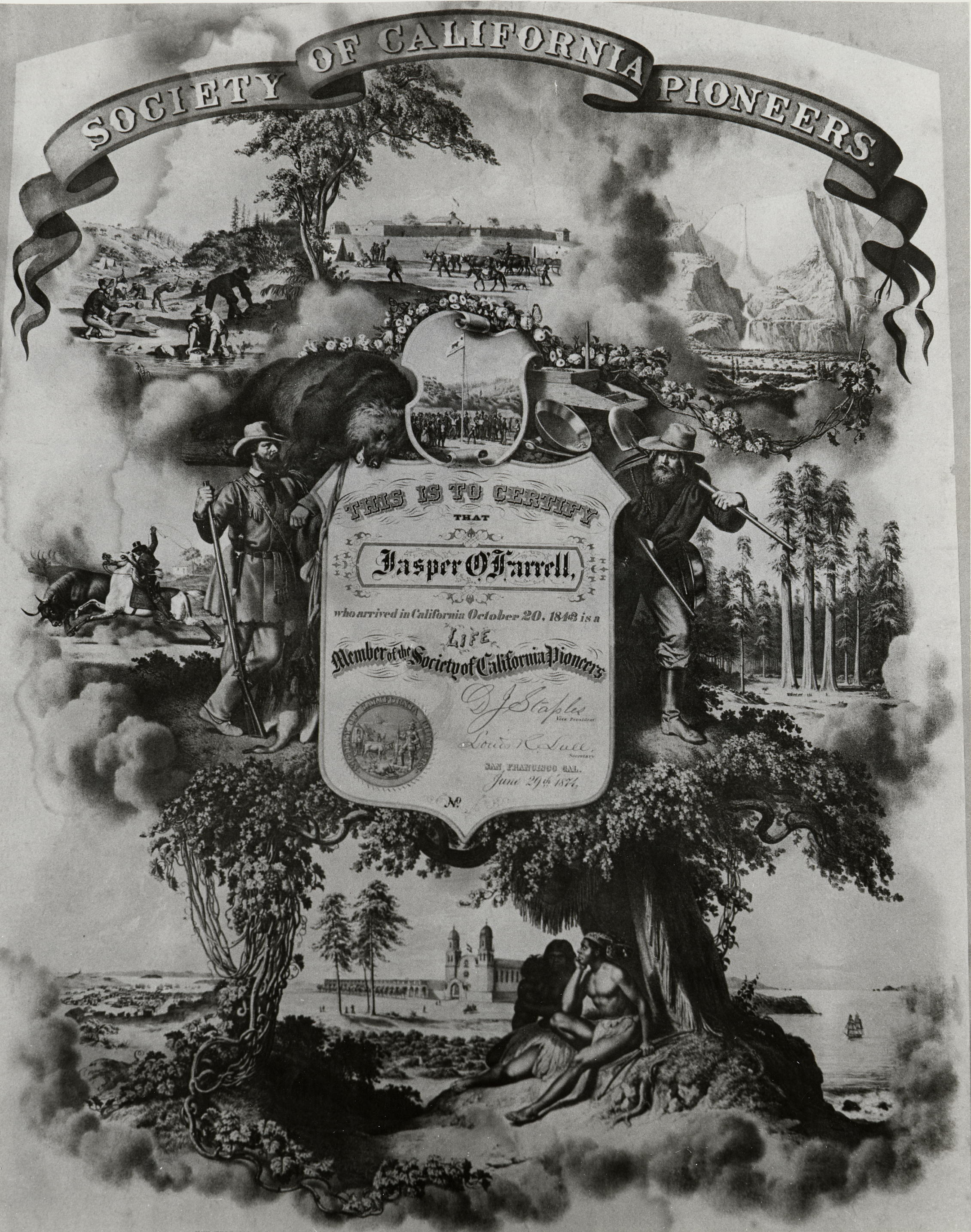 Society member certificate for Jasper O'Farrell, issued June 29, 1874 (image from the Society of California Pioneers)