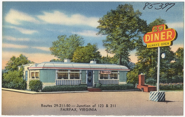 Postcard for the 29 Diner, thanks to the Boston Public Library