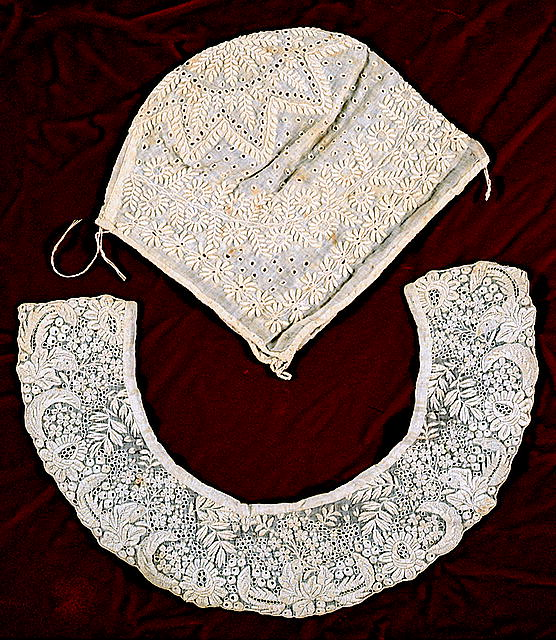 Lace cap and collar made by Antonia while in prison. 