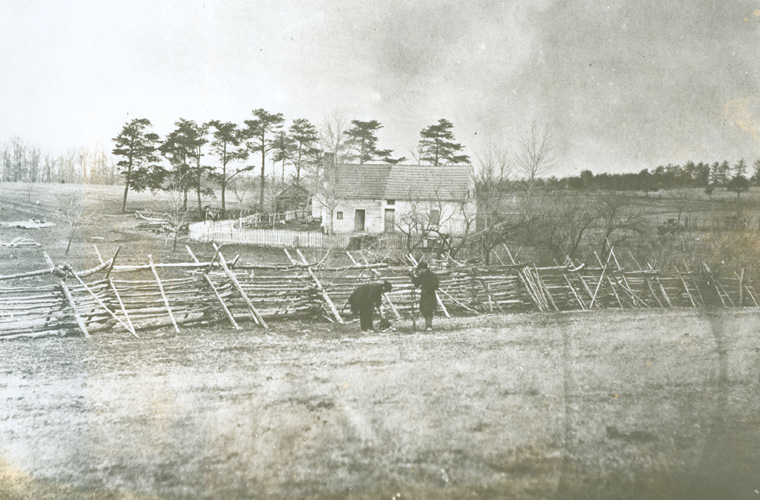 Rare wartime photograph showing the Matthews House on the battlefield