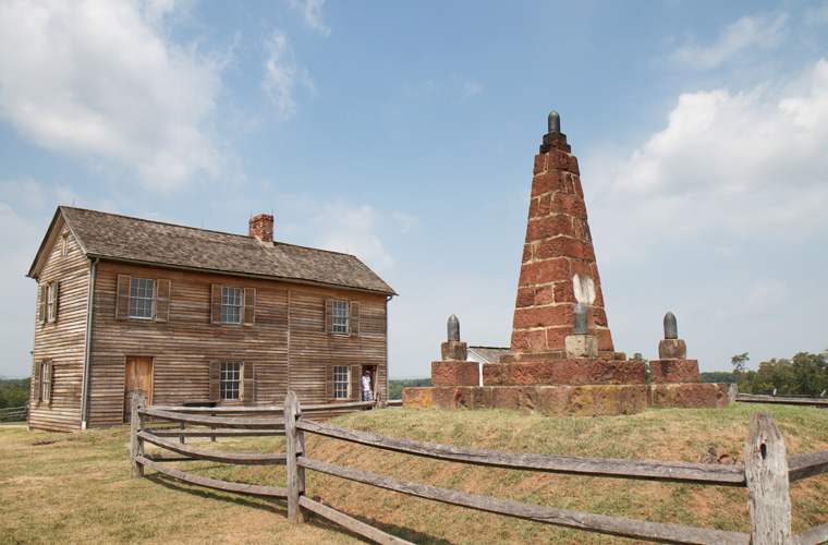 The reconstructed Henry House and Bull Run Monument